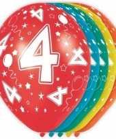 5x stuks 4 jaar thema versiering heliumballonnen 30 cm