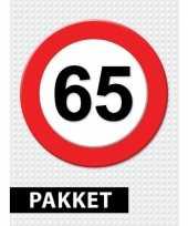 65 jarige verkeerbord versiering pakket
