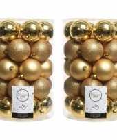 68x gouden kerstversiering kerstballenset kunststof 8 cm