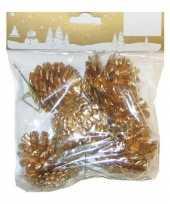 6x gouden versiering dennenappels op draad instekers 3 5 cm