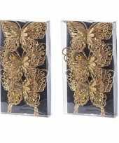 6x kerst versiering vlinders goud 12 x 11 cm