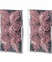 6x kerst versiering vlinders roze 12 x 11 cm