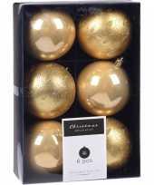 6x kerstboomversiering luxe kunststof kerstballen goud 8 cm
