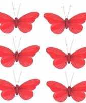 6x kerstboomversiering vlinders op clip rood 11 cm