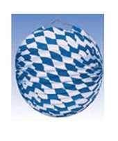 6x lampionnen versiering blauw wit 25 cm