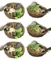 6x paasvogeltjes in nest met eitje 6 cm paasversiering