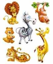 6x raamstickers jungle dieren raamversiering