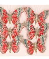 6x rode versiering vlinders met glitters op steker 8 cm
