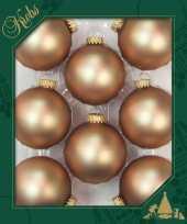 8x cappuccino velvet bruine glazen kerstballen mat 7 cm kerstboomversiering