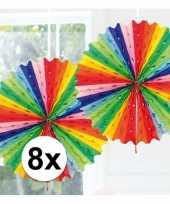8x feestversiering regenboog kleuren versiering waaier 45 cm