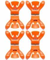 8x slingers versiering ophangen slingerklemmen oranje