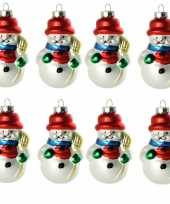 8x stuks kersthanger glazen sneeuwpop 8 cm kerstboomversiering