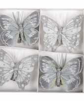 8x versiering grijze glitter vlinders op clip 8 cm