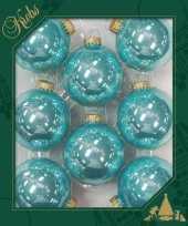 8x waterlelie blauwe glazen kerstballen glans 7 cm kerstboomversiering