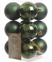Ambiance christmas kerstboom versiering kerstballen groen 12 x