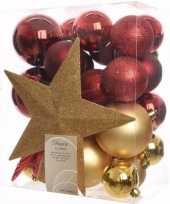 Ambiance christmas kerstboom versiering set goud rood 33 delig