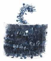 Blauwe kerstversiering folie slinger met ster 700 cm