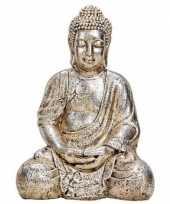 Boeddha beeldje antiek zilver 41 cm woonversiering