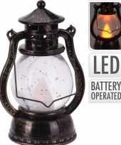 Bronzen lantaarn versiering 12 cm vlam led licht op batterijen