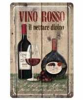 Bruine kroeg versiering muurversiering vino rosso 20 x 30 cm