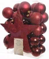 Cosy christmas kerstboom versiering set donkerrood 33 delig