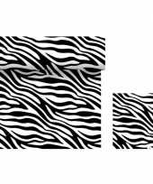 Dieren thema tafelversiering set zebra print tafelloper servetten