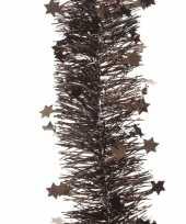 Donker bruine kerstversiering folie slinger met ster 270 cm