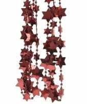 Donker rode kerstversiering ster kralenslinger 270 cm