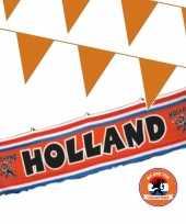 Ek oranje straat huis versiering pakket met oa 1x holland spandoek 70 x300 en 200 m vlaggenlijnen