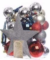 Elegant christmas kerstboom versiering set zilver rood 33 delig