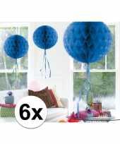 Feestversiering blauwe versiering bollen 30 cm set van 3 10121254