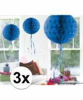 Feestversiering blauwe versiering bollen 30 cm set van 3 10121255