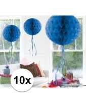 Feestversiering blauwe versiering bollen 30 cm set van 3 10121256