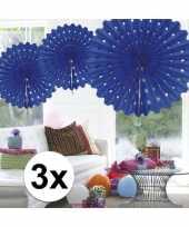 Feestversiering blauwe versiering waaier 45 cm drie stuks