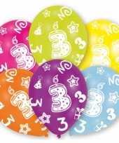 Feestversiering gekleurde ballonnen 3 jaar 6 stuks