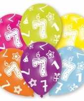 Feestversiering gekleurde ballonnen 7 jaar 6 stuks