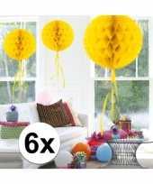 Feestversiering gele versiering bollen 30 cm set van 3 10121239
