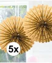 Feestversiering gouden versiering waaier 45 cm vijf stuks