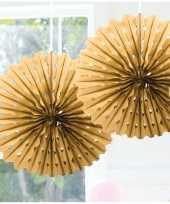 Feestversiering gouden versiering waaier 45 cm