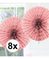 Feestversiering licht roze versiering waaier 45 cm acht stuks
