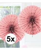 Feestversiering licht roze versiering waaier 45 cm vijf stuks