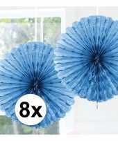 Feestversiering lichtblauwe versiering waaier 45 cm acht stuks