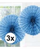 Feestversiering lichtblauwe versiering waaier 45 cm drie stuks