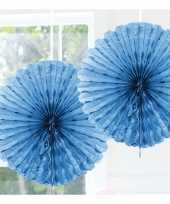 Feestversiering lichtblauwe versiering waaier 45 cm