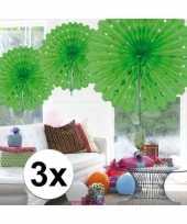 Feestversiering lime groen versiering waaier 45 cm drie stuks
