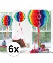 Feestversiering regenboog versiering bollen 30 cm set van 3 10121358