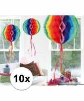 Feestversiering regenboog versiering bollen 30 cm set van 3 10121370