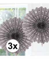 Feestversiering zilveren versiering waaier 45 cm drie stuks