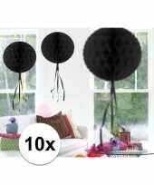 Feestversiering zwart versiering bollen 30 cm 10 stuks