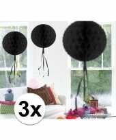 Feestversiering zwart versiering bollen 30 cm 3 stuks